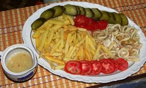 кальмары с картошкой, рецепт приготовления
