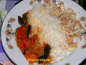 овощное рагу с кальмарами