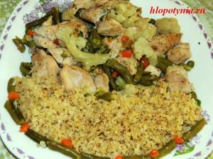 паровая курица с овощами