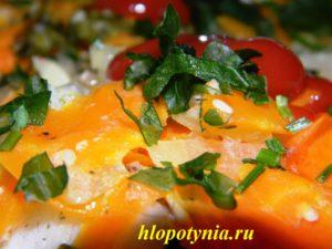филе из палтуса с овощами