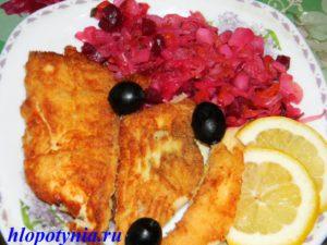 камбала с винегретом и лимоном