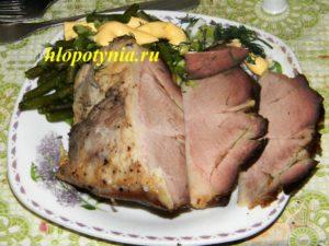 Запеченное мясное на второе с фасолью