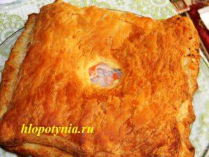пирог с семгой и рисом