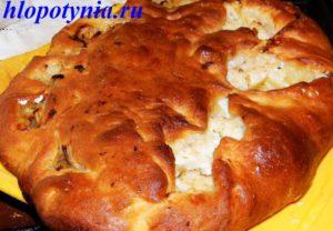 Постный пирог с пикшей